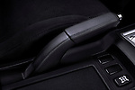 Closeup of a hand brake on a 2010 Mitsubishi Lancer Sportback