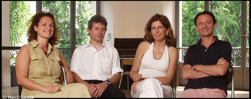 Savina Neirotti, Alessandro Baricco, Antonella Parigi e Alberto Jona alla Scuola Holden. Giugno 2004.