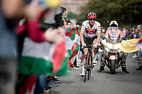 John Degenkolb (DEU/Trek-Segafredo) up the brutal (last climb) Alto de Arraiz (up to 25% gradients!), 7km from the finish <br /> <br /> Stage 12: Circuito de Navarra to Bilbao (171km)<br /> La Vuelta 2019<br /> <br /> ©kramon