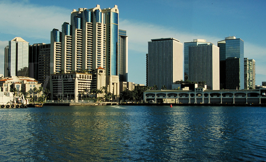 Downtown Honolulu waterfront and Harbor. cityscape, skyline, marina, buildings. Honolulu Hawaii.