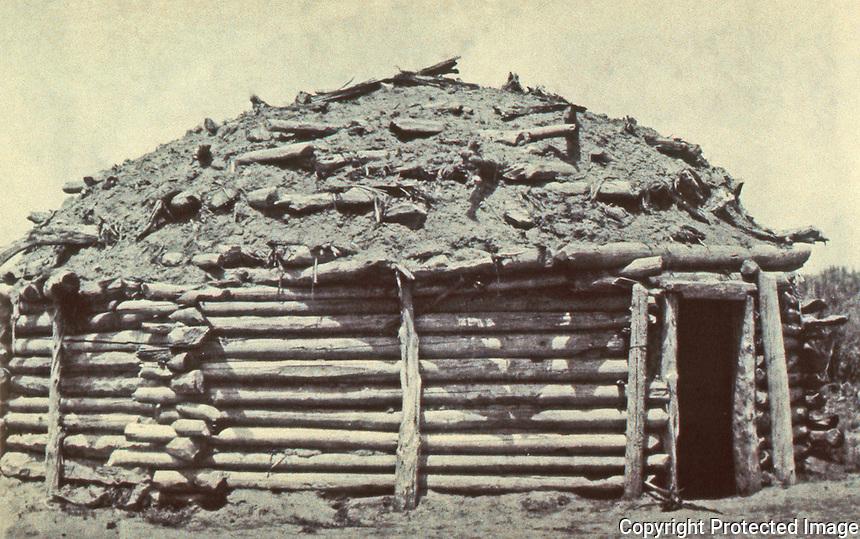 Stacked-log hogan. Navajo.  6/16/96