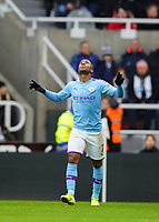 30th November 2019; St James Park, Newcastle, Tyne and Wear, England; English Premier League Football, Newcastle United versus Manchester City; Raheem Sterling of Manchester City celebrates scoring in the 22nd minute to make it 0-1 - Strictly Editorial Use Only. No use with unauthorized audio, video, data, fixture lists, club/league logos or 'live' services. Online in-match use limited to 120 images, no video emulation. No use in betting, games or single club/league/player publications
