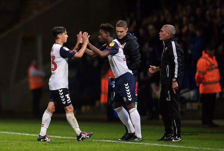 Bolton Wanderers' Eddie Brown (left) is substituted for De'Marlio Brown-Sterling <br /> <br /> Photographer Andrew Kearns/CameraSport<br /> <br /> EFL Leasing.com Trophy - Northern Section - Group F - Bolton Wanderers v Bradford City -  Tuesday 3rd September 2019 - University of Bolton Stadium - Bolton<br />  <br /> World Copyright © 2018 CameraSport. All rights reserved. 43 Linden Ave. Countesthorpe. Leicester. England. LE8 5PG - Tel: +44 (0) 116 277 4147 - admin@camerasport.com - www.camerasport.com