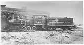 Fireman's-side view of C-19 #340 beside Gunnison roundhouse.<br /> D&amp;RGW  Gunnison, CO