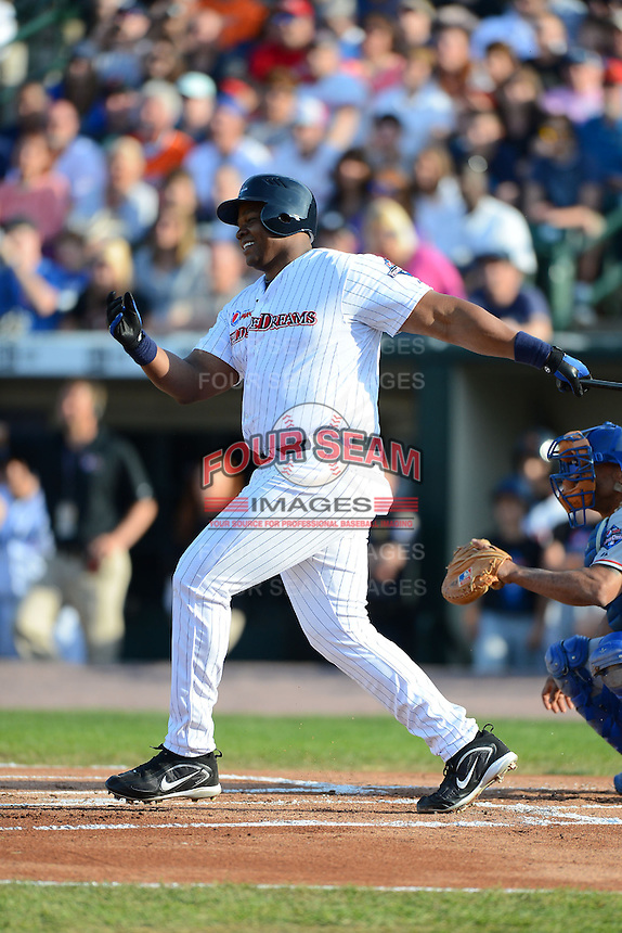 Former Chicago White Sox first baseman Frank Thomas #35 during the MLB Pepsi Max Field of Dreams game on May 18, 2013 at Frontier Field in Rochester, New York.  (Mike Janes/Four Seam Images)