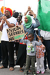 Amran Abdalla who is an Asylum seeker in, Mosney, Co Meath protesting this morning with her children Mohammed and Najma as 150 people are being moved to alternative accommodation...Photo NEWSFILE/Jenny Matthews.(Photo credit should read Jenny Matthews/NEWSFILE)....This Picture has been sent you under the condtions enclosed by:.Newsfile Ltd..The Studio,.Millmount Abbey,.Drogheda,.Co Meath..Ireland..Tel: +353(0)41-9871240.Fax: +353(0)41-9871260.GSM: +353(0)86-2500958.email: pictures@newsfile.ie.www.newsfile.ie.FTP: 193.120.102.198.