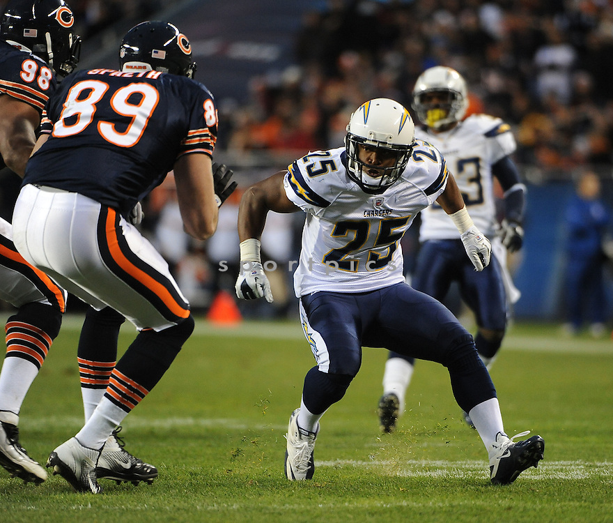 DARRELL STUCKEY, of the San Diego Chargers, in action during the Chargers game against the Chicago Bears on November 20, 2011 at Soldier Field in Chicago, IL. The Bears beat the Chargers 31-20.
