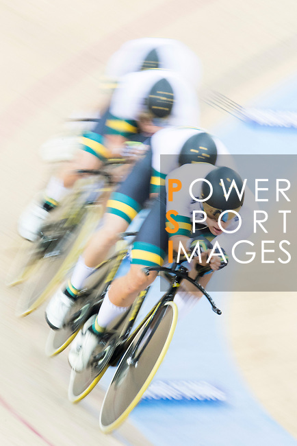 The team of Australia with Cameron Meyer, Kelland O'Brien, Alexander Porter and Sam Welsford compete in Men's Team Pursuit 1st Round match as part of the 2017 UCI Track Cycling World Championships on 12 April 2017, in Hong Kong Velodrome, Hong Kong, China. Photo by Victor Fraile / Power Sport Images