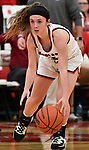 Highland guard Ellie Brown dribbles down low as she brings the ball in. Highland played Civic Memorial in the Class 3A Effingham sectional championship game at Effingham High School in Effingham, Illinois on Thursday February 27, 2020. <br /> Tim Vizer/Special to STLhighschoolsports.com