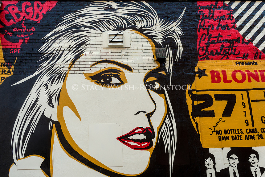 New York, NY 23 August 2017 -Detail of a newly completed mural, by Shepard Fairey,in the East Village. The new mural that pays Debbie Harry of therock group Blondie which got it's start at CBGB. ©Stacy Walsh Rosenstock