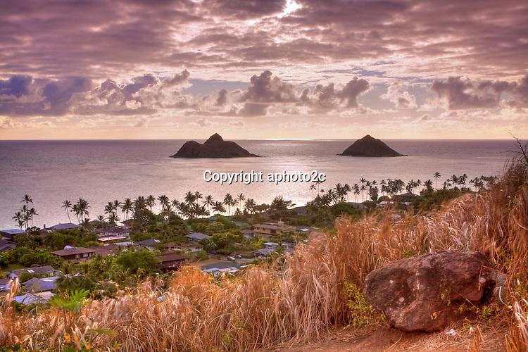 Sunrise of Mokulua Islands from Pill Box