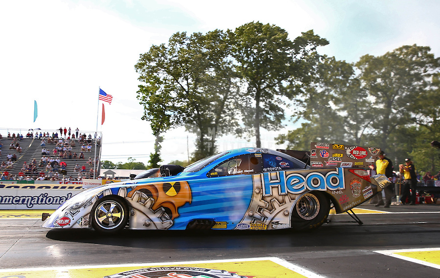 May 31, 2013; Englishtown, NJ, USA: NHRA funny car driver Chad Head during qualifying for the Summer Nationals at Raceway Park. Mandatory Credit: Mark J. Rebilas-