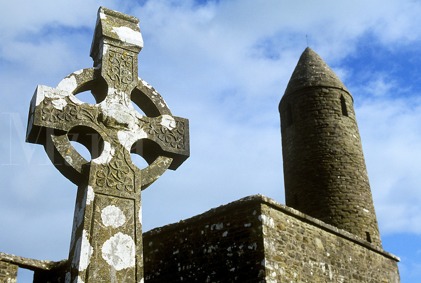 Round tower and monastic ruin, Ireland
