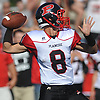 Mike Ciuffo #8, Plainedge quarterback, throws a pass during a Nassau County Conference III varsity football game against host Lawrence High School on Saturday, Sept. 23, 2017. He threw for four touchdowns, including the game-winner with 23.3 seconds left in the fourth quarter, to lead Plainedge to a 38-34 win.
