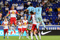 Harrison, NJ - Thursday Sept. 15, 2016: Aurelien Collin, Mario Segovia, Aaron Long, Fabricio Silva during a CONCACAF Champions League match between the New York Red Bulls and Alianza FC at Red Bull Arena.