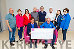 Cheque presentation from Una O'Leary the sum of €5,030 to the Kerry Hospice on Friday.<br /> Seated l to r: Una O'Leary and Joe Hennerbery.<br /> Back l to r: David O'Leary, Noreen and Sinead Nagle, Pat Doolin (Kerry Hospice), Padraig O'Sullivan, Fr Gerard O'Leary, Louise O'Leary and Mary Shanahan (Kerry Hospice).