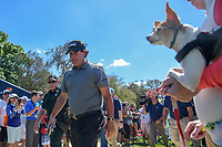 Phil Mickelson (USA) makes his way to the tee on 3 as a dog with sunglasses looks on during round 1 of the Arnold Palmer Invitational at Bay Hill Golf Club, Bay Hill, Florida. 3/7/2019.<br /> Picture: Golffile | Ken Murray<br /> <br /> <br /> All photo usage must carry mandatory copyright credit (&copy; Golffile | Ken Murray)