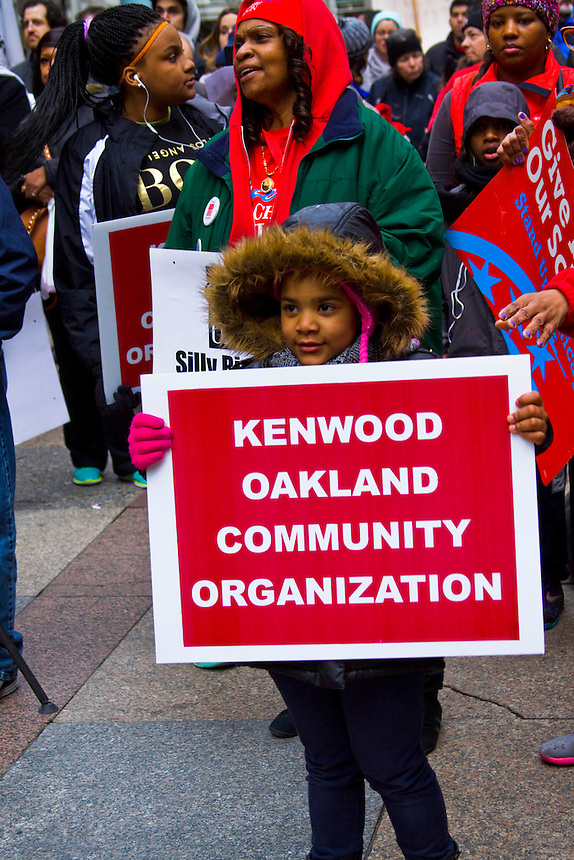 The rally was held in support of then Mayoral candidate Jesus 'Chuy' Garcia and to raise issues like having an elected school board that answers to the neighborhoods and parents instead of the present board which is appointed by the mayor of the city.