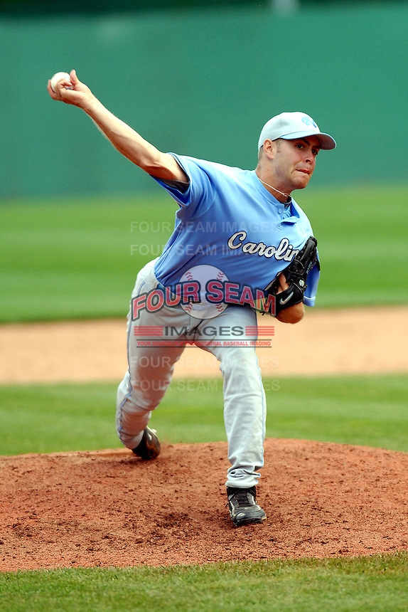 North Carolina Tar Heels' RHP Colin Bates in action vs. the Boston College Eagles  at Shea Field May 16, 2009 in Chestnut Hill, MA (Photo by Ken Babbitt/Four Seam Images)