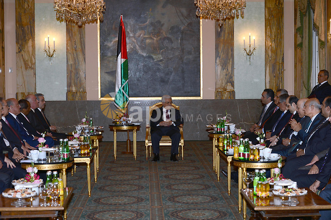 Palestinian President Mahmoud Abbas (Abu Mazen) meets with the arab ambassadors in Vienna in Germany, on Apr. 29, 2013. Photo by Thaer Ganaim