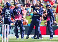 England's Ben Stokes and Jason Roy celebrate the wicket of Henry Nicholls.  Black Caps v England, second international cricket ODI, Bay Oval, Tauranga, New Zealand. Wednesday, 28 February, 2018. Copyright photo: John Cowpland / www.photosport.nz