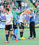 The Hague, Netherlands, June 06: Nicolas Jacobi #1 of Germany and Maximilian Mueller #4 of Germany argue with the umpire during the field hockey group match (Men - Group B) between Germany and The Netherlands on June 6, 2014 during the World Cup 2014 at Kyocera Stadium in The Hague, Netherlands. Final score 0-1 (0-1) (Photo by Dirk Markgraf / www.265-images.com) *** Local caption ***