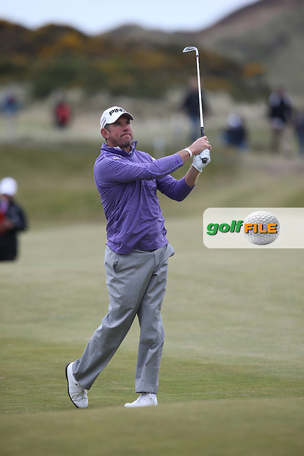 Lee Westwood (ENG) plays second shot to the 8th during Round Three of the 2015 Dubai Duty Free Irish Open Hosted by The Rory Foundation at Royal County Down Golf Club, Newcastle County Down, Northern Ireland. 30/05/2015. Picture David Lloyd | www.golffile.ie