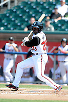 Lansing Lugnuts outfielder Dwight Smith Jr (25) during a game against the Dayton Dragons on August 25, 2013 at Cooley Law School Stadium in Lansing, Michigan.  Dayton defeated Lansing 5-4 in 11 innings.  (Mike Janes/Four Seam Images)