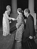 First lady Pat Nixon, left, greets Prime Minister Golda Meir of Israel, center, on the North Portico of the White House in Washington, DC on Thursday, September 25, 1969.  Prime Minister Meir was visiting the United States and was honored at a State Dinner.  United States President Richard M. Nixon is at right.<br /> Credit: Arnie Sachs / CNP
