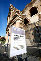 The Coliseum is closed to the public and the square around almost empty<br /> Rome March 10th 2020. Rome the day after the last Minister Council's decree, that extends the restrictions from North of Italy to the entire country to contain Covid-19 Virus. All the shops (restaurants, pubs, and even supermarkets) will have to close at 6 pm. Gathering of people will be forbitten and people will have to maintain the 1 meter security distance. Citizens are furthermore invited to stay at home with the exception of people who have to go to work, to the pharmacy or to the supermarket.<br /> Photo Samantha Zucchi Insidefoto