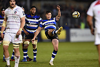 Freddie Burns of Bath Rugby kicks for touch. Anglo-Welsh Cup match, between Bath Rugby and Leicester Tigers on November 10, 2017 at the Recreation Ground in Bath, England. Photo by: Patrick Khachfe / Onside Images