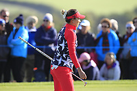 Annie Park of Team USA on the 7th green during Day 1 Foursomes at the Solheim Cup 2019, Gleneagles Golf CLub, Auchterarder, Perthshire, Scotland. 13/09/2019.<br /> Picture Thos Caffrey / Golffile.ie<br /> <br /> All photo usage must carry mandatory copyright credit (© Golffile | Thos Caffrey)