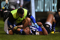 Joe Cokanasiga of Bath Rugby is treated for an injury. Gallagher Premiership match, between Bath Rugby and Exeter Chiefs on October 5, 2018 at the Recreation Ground in Bath, England. Photo by: Patrick Khachfe / Onside Images