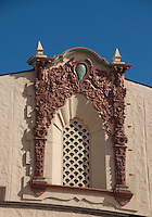 Intricate carved artistic detail on the old Lihue Theatre (now refurbished as the Harry & Jeanette Weinberg Senior Apartments), Lihue, Kauai.