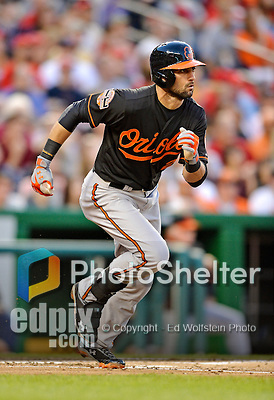 18 May 2012: Baltimore Orioles outfielder Nick Markakis in action against the Washington Nationals at Nationals Park in Washington, DC. The Orioles defeated the Nationals 2-1 in the first game of their 3-game series. Mandatory Credit: Ed Wolfstein Photo