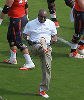 Virginia head coach Mike London Ball State defeated Virginia 48-27 during an NCAA football game Saturday Oct. 5, 2013 at Scott Stadium in Charlottesville, VA. Photo/Andrew Shurtleff