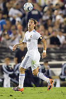 Sergio Ramos of Real Madrid watches the ball in the air. Real Madrid beat the LA Galaxy 3-2 in an international friendly match at the Rose Bowl in Pasadena, California on Saturday evening August 7, 2010.