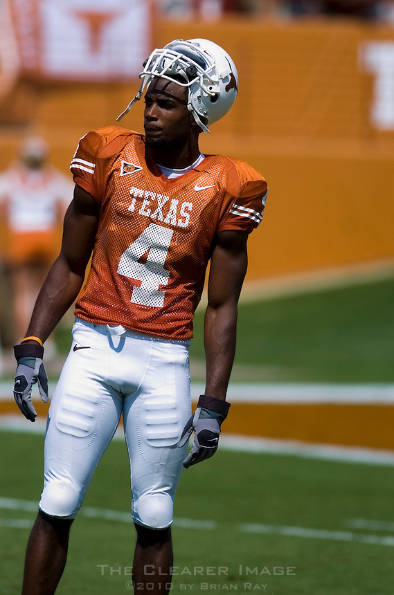 02 September 2006: University of Texas receiver Limas Sweed waits through at timeout during the Longhorns 56-7 victory over the University of North Texas at Darrell K Royal Memorial Stadium in Austin, TX.