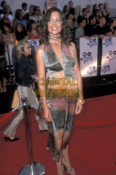 KATIE HOLMES.03 June 2000.half length half-length multi coloured long dress plunging neckline .ref:9783.www.capitalpictures.com.sales@capitalpictures.com.©Capital Pictures