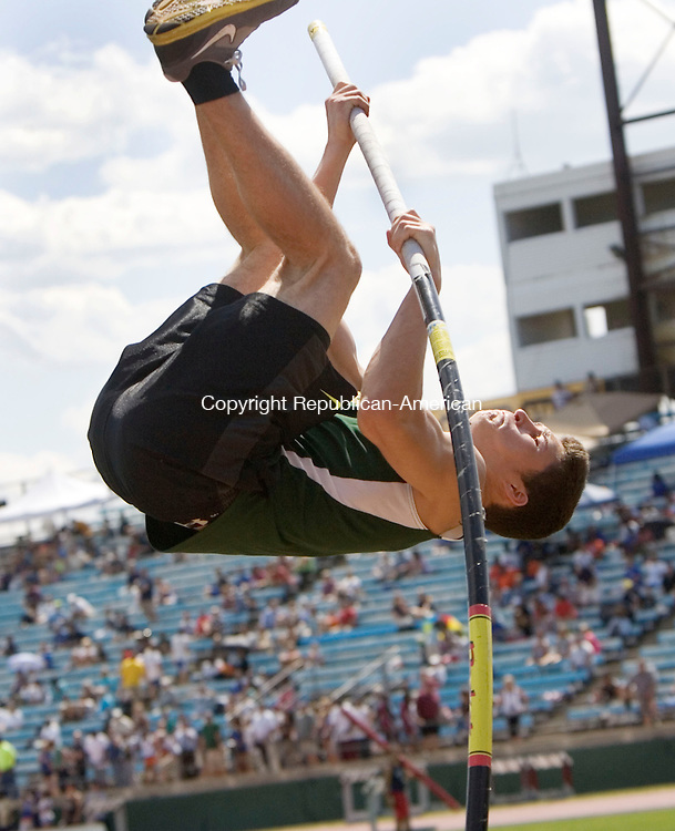 NEW BRITAIN, CT. 06 June 2011-060611SV06--Nick Gambacini of Holy Cross High competes in the pole vault during the State Open Track meet at Willow Brook Park in New Britain Monday. <br /> Steven Valenti Republican-American