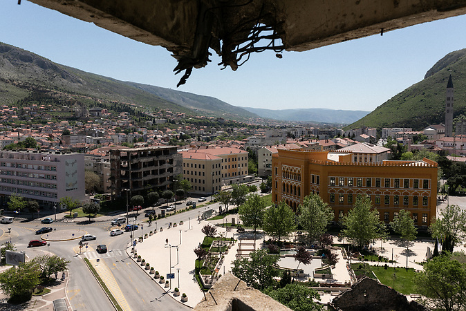 View on Spanish square in Mostar.