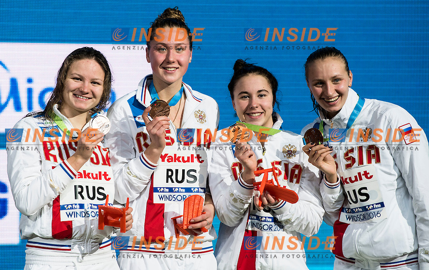 Russia RUS Bronze Medal <br /> MULLAKAEVA Daria USTINOVA Daria OPENYSHEVA Arina <br /> POPOVA Veronika <br /> Women's 4x200m Freestyle<br /> 13th Fina World Swimming Championships 25m <br /> Windsor  Dec. 10th, 2016 - Day05 Final<br /> WFCU Centre - Windsor Ontario Canada CAN <br /> 20161210 WFCU Centre - Windsor Ontario Canada CAN <br /> Photo &copy; Giorgio Scala/Deepbluemedia/Insidefoto