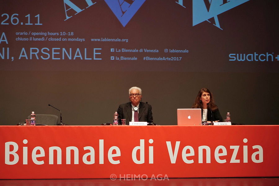 57th Art Biennale in Venice - Viva Arte Viva.<br /> Opening Press Conference.<br /> Biennale President Paolo Baratta, Curator Christine Macel.