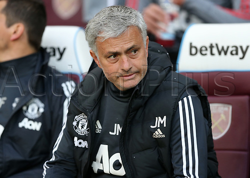 10th May 2018, London Stadium, London, England; EPL Premier League football, West Ham United versus Manchester United; Manchester Untied Manager Jose Mourinho looking on from the dugout before kick off