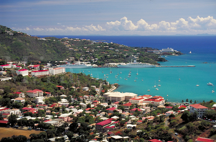 View of town, harbor & cruise ships. St Thomas, US Virgin Islands Caribbean.