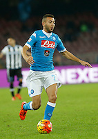 Omar El Kaddoury controls the ball during the  italian serie a soccer match,between SSC Napoli and Udinese      at  the San  Paolo   stadium in Naples  Italy , November 08, 2015