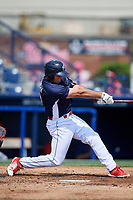 Reading Fightin Phils third baseman Damek Tomscha (13) swings at a pitch during the first game of a doubleheader against the Portland Sea Dogs on May 15, 2018 at FirstEnergy Stadium in Reading, Pennsylvania.  Portland defeated Reading 8-4.  (Mike Janes/Four Seam Images)