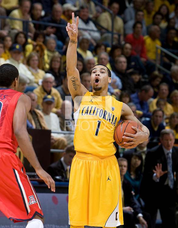 Justin Cobbs of California calls a play to his teammates during the game against Arizona at Haas Pavilion in Berkeley, California on February 2nd, 2012.  Arizona defeated California, 78-74.