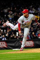 April 11, 2009: Phillies pitcher Brad Lidge during a game between the Philadelphia Phillies and the Colorado Rockies at Coors Field in Denver, Colorado. The Phillies beat the Rockies 8-4.