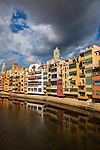 Colourful buildings along the river Onyar, in Girona, Catalonia, Spain